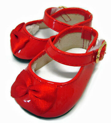 """Christmas Red Patent Shoes Satin Bows made for 18"""" American Girl Doll Clothes"""