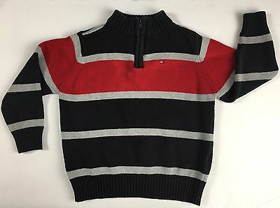 Tommy Hilfiger Blue Gray Red Striped Boys Sweater Size 4T