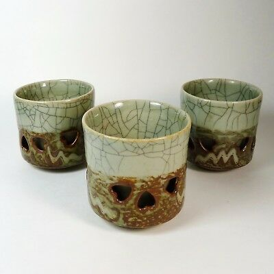 Somayaki Somaware Tea Cups Doubled Walled 3-1/4 in Set of 3 Collectible