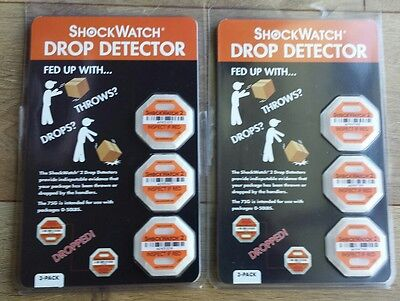 NEW ShockWatch Lot of 2 DROP DETECTOR 3 Pack For Packages 0 to 50LBS