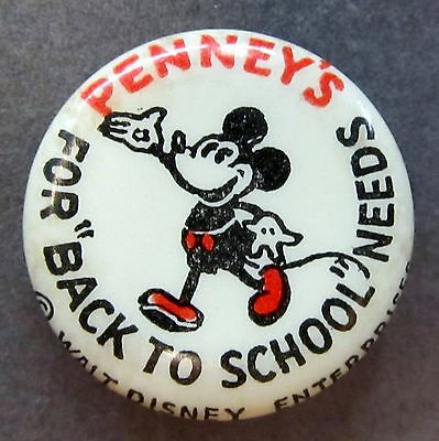 1930's MICKEY MOUSE PENNEY'S BACK TO SCHOOL celluloid pinback button