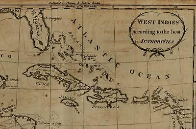 Doolittle 1793 West Indies scarce American-made old map Cuba Hispaniola Florida