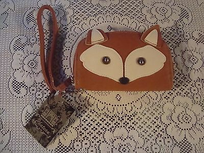 NEW CUTE FACE FOX WRISTLET WALLET STRAP w CARD HOLDER LINED ZIP AROUND