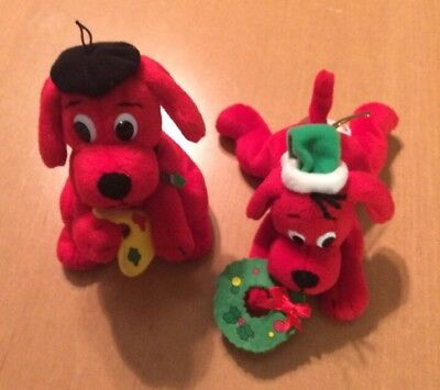 Lot of 2 Scholastic Clifford Plush One Christmas and One Painting