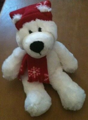 """Princess Soft Toys White Bear With Hat and  Scarf Plush 12"""""""