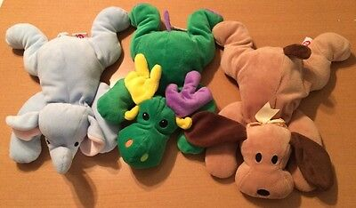 3 Ty Pillow Pals: Squirt the Elephant, Woof the Dog, and Green Antlers the Moose