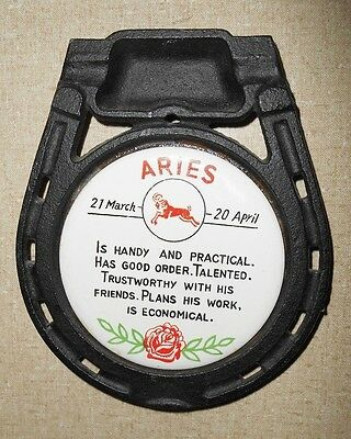 Iron Horseshoe shape Ashtray Trivet - Horoscope ARIES  - Mary Louise JAPAN