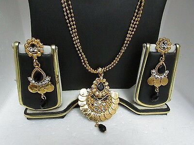 Ethnic Traditional AD CZ  Coloured Stone Kundan Hanging Earrings and Pendant