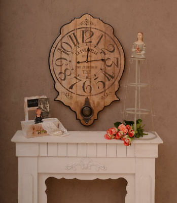 Big Wall Clock & Pendulum French Country House Style Vintage Kitchen Clock
