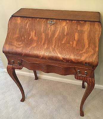 Antique Secretary Desk - Burled Oak