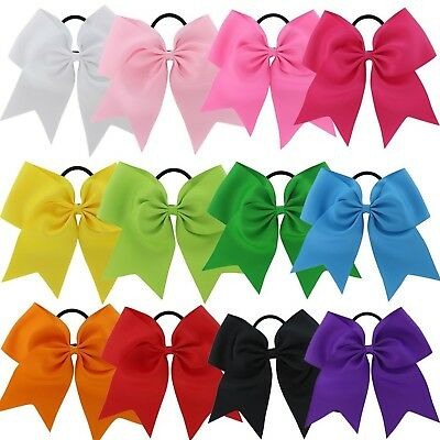 "10 USA 10 JUMBO 7"" Cheer Bow Ponytail Holder Big Girls Large Hair Bows"
