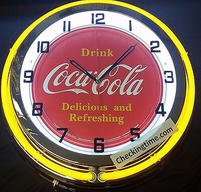 "19"" Double Neon Clock Drink Coca Cola Coke Red sign"