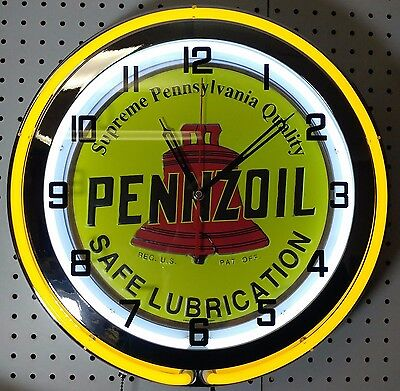 "19"" Double Neon Clock Pennzoil Oil Sign Chrome Finish"