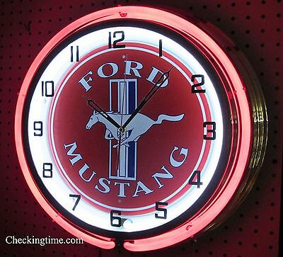 "19"" Double Neon Clock Ford Mustang Red Sign Chrome or Carbon Fiber Finish"
