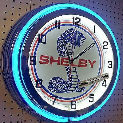 "19"" Double Neon Clock Shelby Cobra Mustang GT350 GT500 Chrome or Carbon Fiber"
