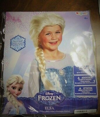 New Girls Ages 4+ Disney Frozen Elsa Costume Wig Disguise