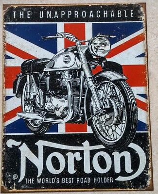 Norton Unapproachable Motorcycles Tin Metal Sign  Road Holder Bike Picture Gift