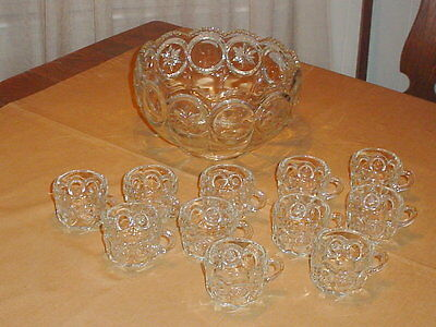 Vintage Tiffin Moon and Star Crystal Punch Bowl + 11 Matching Punch Cups
