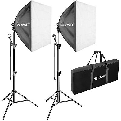 Neewer 700W Spiral Fluorescent Light Kit with Softbox and Tripod Stand