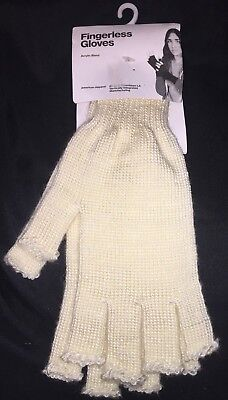 AMERICAN APPAREL Ivory Acrylic Mohair Blend FINGERLESS GLOVES Unisex One Size