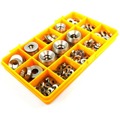 168 Assorted A2 Stainless Steel Solid Turned Full Body Screw Cup Washers Kit