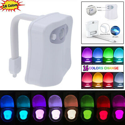 16 Color Changing Toilet LED Night Light Human Motion Activated Seat Sensor Lamp