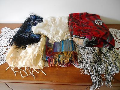 Lot Of 6 X Vintage Scarves And Wraps - Knit, Silk, Woven, Embroidered