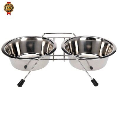 Stainless Steel Pet Feeding Bowl Double Diner Dog Cat Food Station NEW