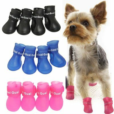 4Pcs Anti-Sli Dog Puppy Rain Boots Booties PVC Shoes Waterproof Protective S/M/L
