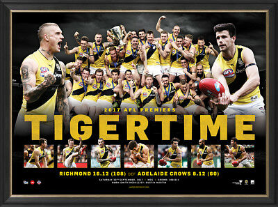 "Richmond 2017 Afl Premiers Print Framed ""tiger Time""  Dustin Martin, Cotchin"