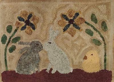 Primitive rug hooking kit, hooked, kissing bunnies, linen, wool