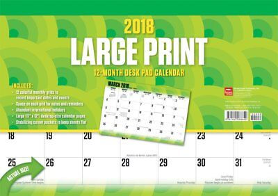 Large Print 2018 Monthly Desk Pad Calendar by Browntrout. Post Paid