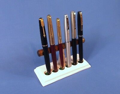 Ceramic & wood Pen stand pen rest for collector or retail display holds 6 pens