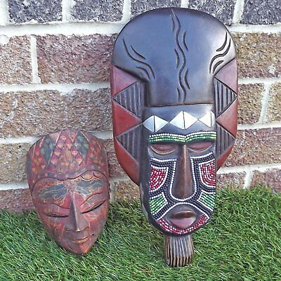 Two Hand Carved Wooden Colourful Masks - Pair Ethnic Wood Carvings