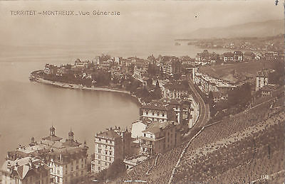 Vue sur TERRITET - MONTREUX Suisse 1914 Carte Photo Éd Perrochet & David RPPC