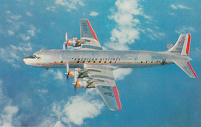 AA AMERIACAN LINES Flagship DC-7 Passenger Airliner Advertising Postcard