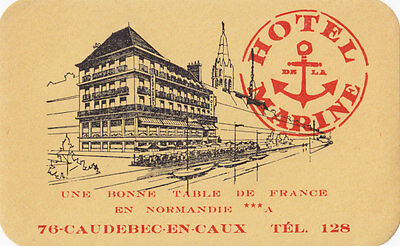 Hotel Marine CAUDEBEC-EN-CAUX Normandie France 1930-40s Luggage Label