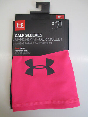 Under Armour 2 Women's Compression Calf Sleeves Graphic Pink/Black M/L