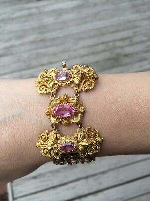 Antique Victorian 14k but could be 18k Pink Sapphire and Pink Topaz Bracelet