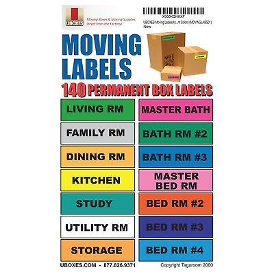 "UBOXES Moving Labels Identify Moving Box Contents with 140 Labels 4.5 x 1"" Ea..."