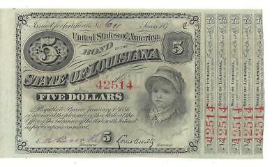 "State Of Louisiana 1870's  Five Dollar ""baby"" Bond"