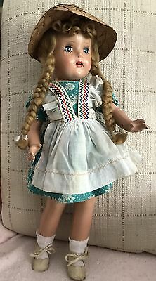 """Vintage Composition HORSMAN BRIGHT STAR DOLL - 17"""" - STRAW HAT - Oilcloth SHOES"""