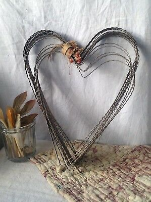 "Antique French Metal Hearts Vintage Wedding Decor 12"" x10"" Rustic Home Decor 2pc"