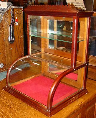 Neat small size oak curved glass counter display case-------15200