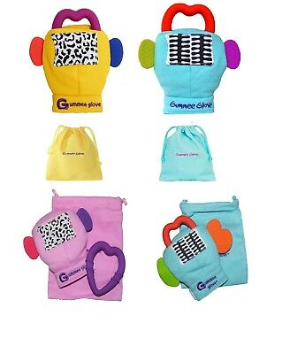 Gummee Glove & PLUS Baby Teething Mitten Ring BLUE YELLOW PINK 3-6 or 6-12 mth