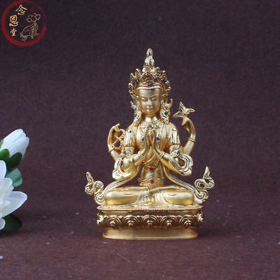 Avalokiteshvara Four-armed Kwan Yin Statue Chinese Colored Copper Gold Plating