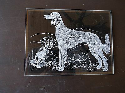 Saluki- Beautifully Hand engraved Freestanding Plaque by Ingrid Jonsson