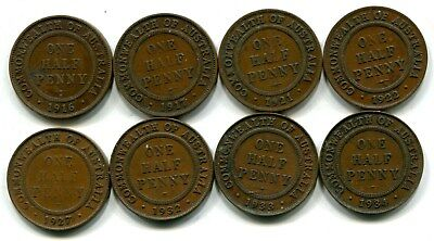 Australia Half Pennies Lot of 8 Different 1916-1934 Circulated