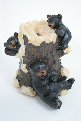 Coin Bank with Black Bears Playing on Stump Wildlife Figurine Indoor Home Decor