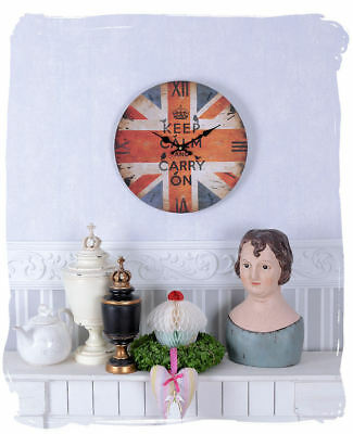 English Wall Clock Union Jack Watch Antique Style